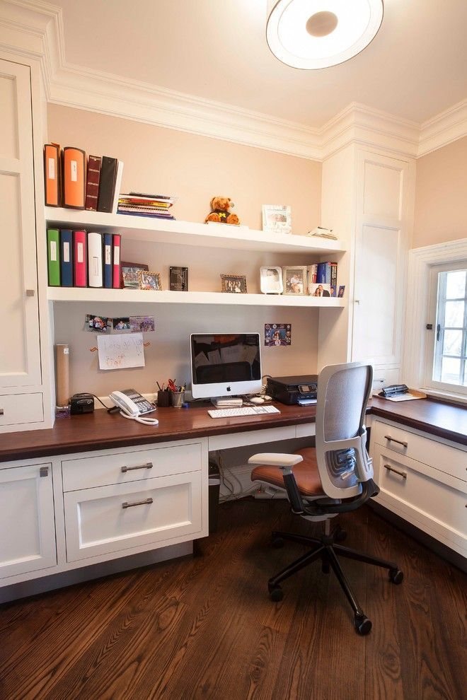 Home Office Transitional design, built in desk home office