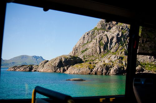 Taking the bus in Lofoten - Henningsvaer