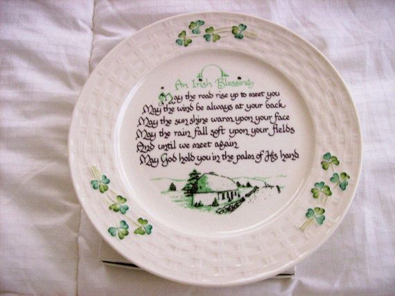 vintage+belleek+china | Vintage Belleek China Irish Blessing Plate Purchased New in 1993