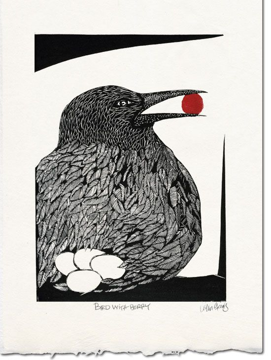 """Linocut Print that May be a Corvidae, Maybe not....but I love it!! ~ """"Bird with Berry"""" by John Steins"""