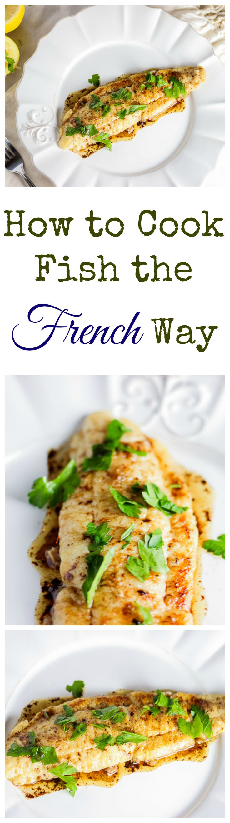 Was yummy served over arugula! I used flounder cut up in small pieces. -MP This fish is pan-seared and served with a butter, lemon, and parsley sauce. It's a very quick and tasty French classic.