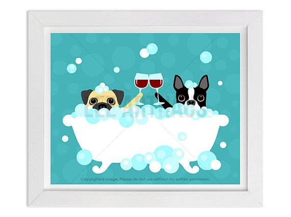 130D Wine Art  Pug and Boston Terrier with Wine by leearthaus