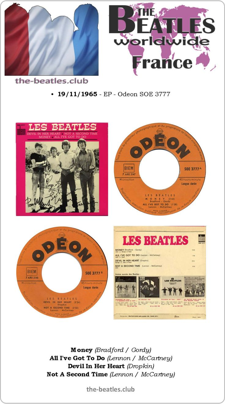 The Beatles France EP Odeon SOE 3777 Money All I've Got To Do Devil In Her Heart Not A Second Time Lyrics