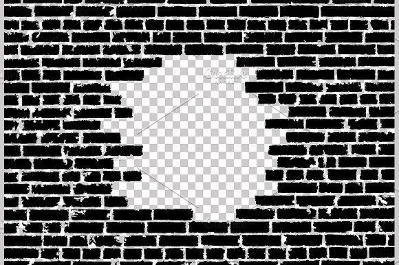Vector Broken Realistic Brick Wall Brick Wall Drawing Brick Wall Background Black Brick Wall