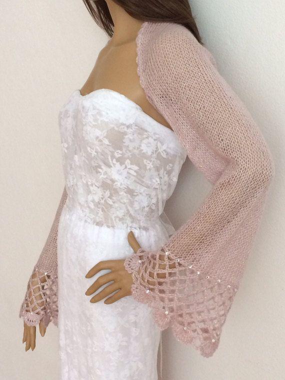 Bolero bruids Bolero roze bruiloft Bolero avond sjaal door KnitBuddy