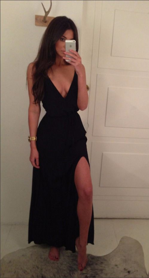 Sexy A line Spaghetti Strap Black With Slit Side Chiffon Long Evening Dress Prom Dresses,V Neck Simple Prom Dress Evening Gowns Mother of the Bride Dresses