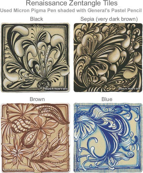 Pre Strung Zentangle Tiles Templates | Mooka 2 using Sepia Micron Pigma Pen by Sakura and Generals Pastel ...