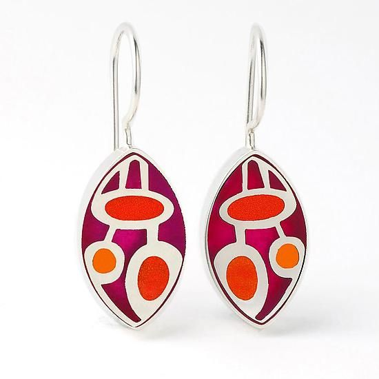 Elliptical Tri-Color Earrings by Victoria Varga: Silver & Resin Earrings available at www.artfulhome.com
