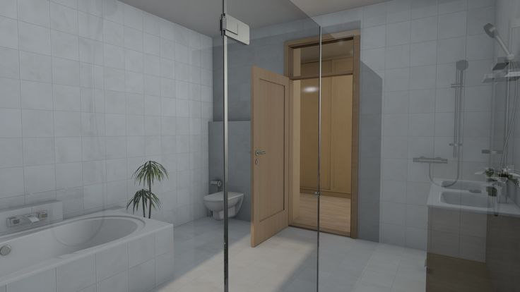 Modern, 5 szobás, 229 m2-es földszintes családi ház mintaterve, alaprajzzal A közös fürdőszoba zuhanyzójából ez a kilátás nyílik.
