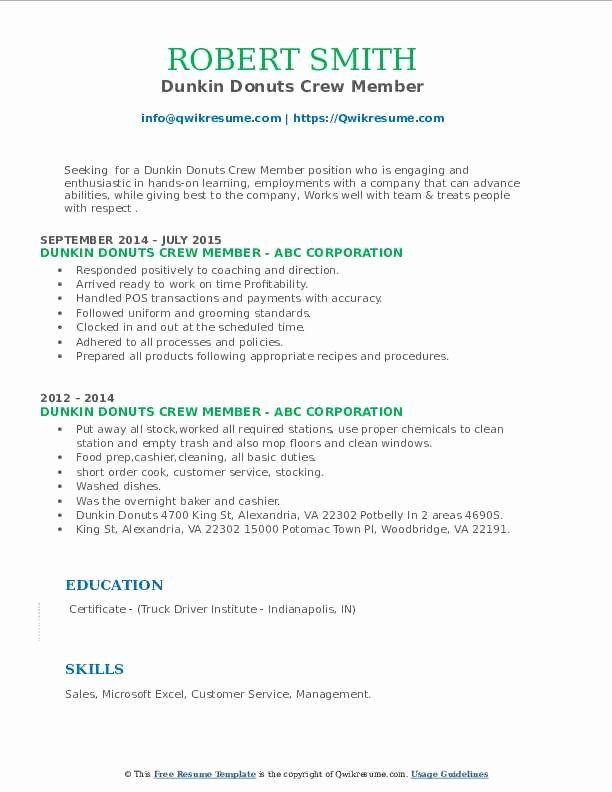 Dunkin Donuts Cashier Resume Awesome Dunkin Donuts Crew Member Resume Samples Dunkin Dunkin Donuts Donuts