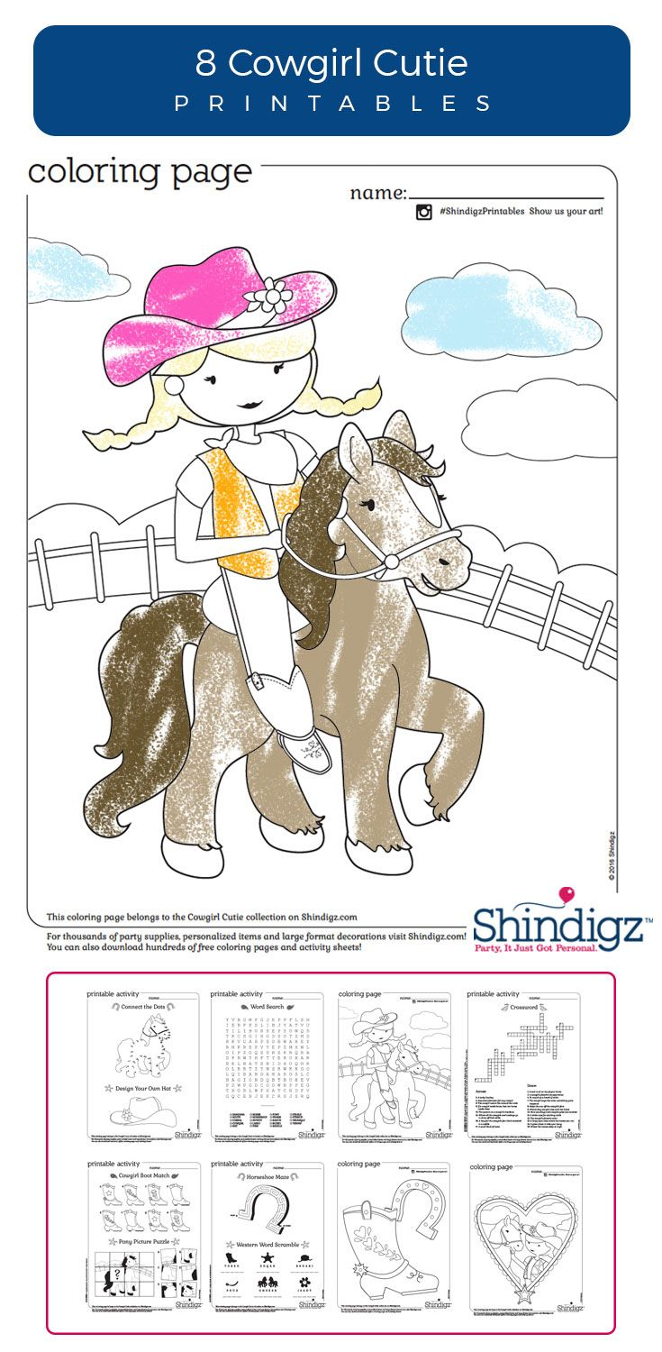 Shindigz Cowgirl Printables From Are Nice For A Cutie Birthday And More Coloring Pages Word Finds Will Delight All
