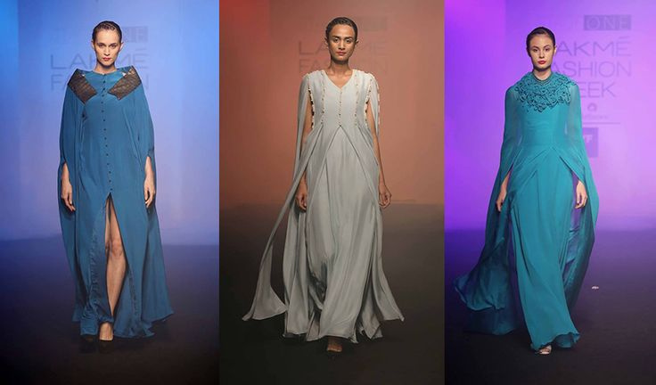 【Lakmé Fashion Week:Priyam Narayan】 Emerging designer Priyam Narayan, showcased a collection that boasted of breezy and flowy silhouettes in blue. An extremely cool palette, the colours ranged from ivory, turquoise to darker tints like teal. The cuts, sleeves and jackets were the highlight of the line.