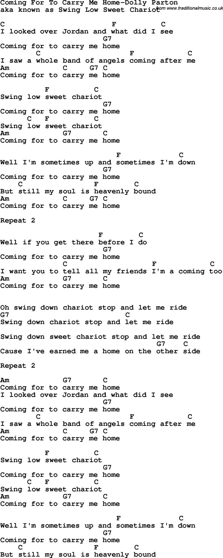 Country, Southern and Bluegrass Gospel Song Coming For To Carry Me Home-Dolly Parton lyrics and chords