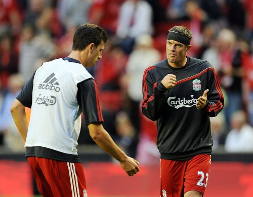 An inspiration to so many Liverpool youngsters, Carra lends Daniel Ayala a bit of friendly advice prior to kick-off