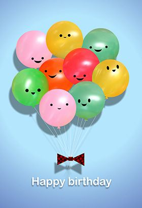 """""""Happy Balloons"""" printable card. Customize, add text and photos. Print for free!"""