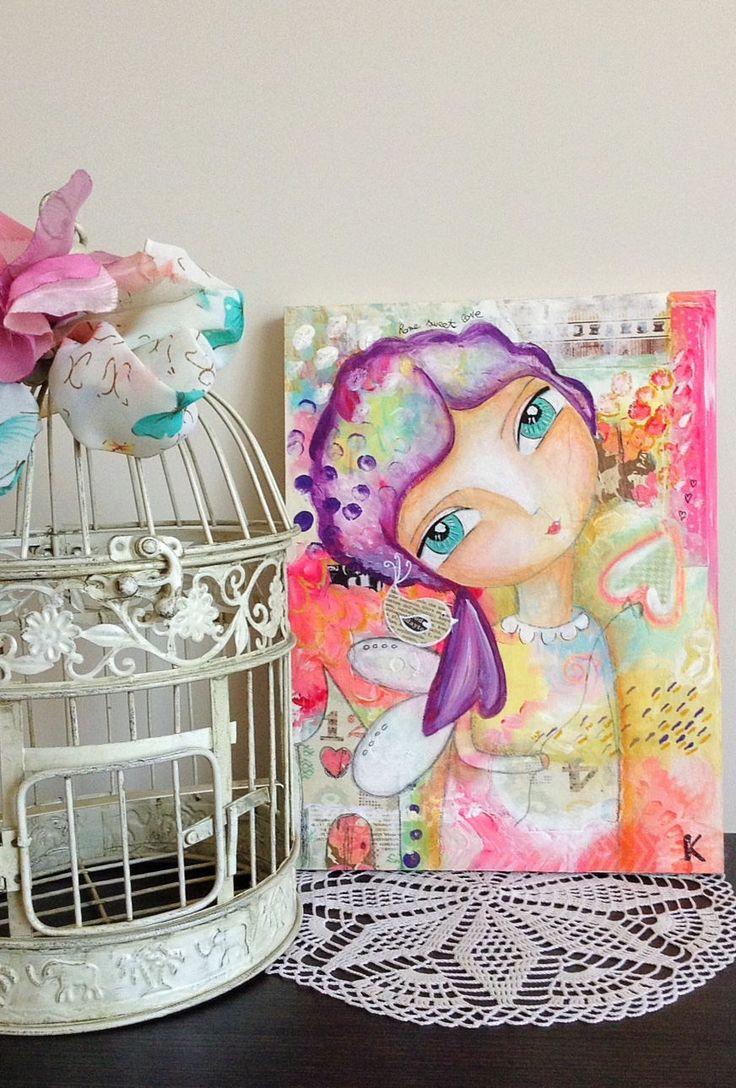 "Fatina ""casa dolce amore"" stampe, disegni fate, quadri cameretta, fuchsia, arte surreale, fairy house, girl print, mixed media, 8 x 10, fata di laKuki su Etsy"