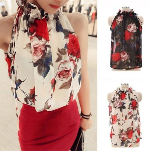 Summer+Womens+Floral+Sleevelss+Blouse+Tops+Halter+Chiffon+T-shirts+Shirts+S-XXL  +  100%+Brand+New+and+High+Quality  Color;+Black.+White  Material:+Chiffon  Size:++S+M+L+XL+XXL  Occasion:+Casual/Club/Beach/Summer  Style:+Fashion+Halter+Tops+Blouse+Sleeveless+T-shirts+Flowers+Pat...