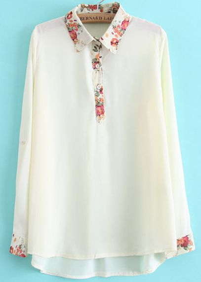 White Lapel Long Sleeve Floral Dipped Hem Blouse