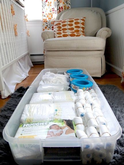 extra nursery storage- always a fan of under bed storage. Our old crib had a drawer, new one does not. #babyboynursery