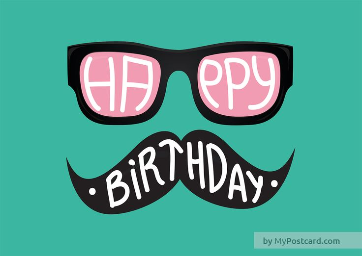 Happy Birthday green greeting card - with mustache and sunglasses