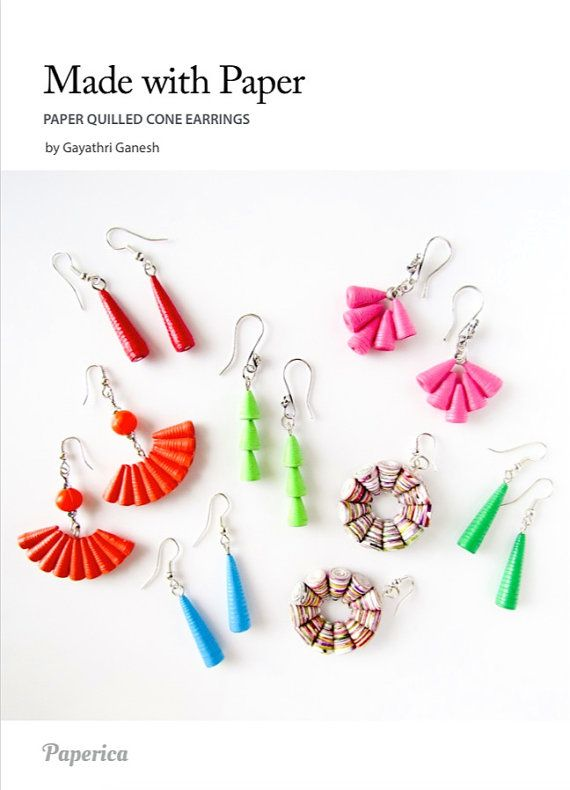Tutorial for paper jewelry beads - DIY Paper quilling jewelry / Learn to make Paper Quilled cone earrings with a needle quilling tool, by Paperica on Etsy