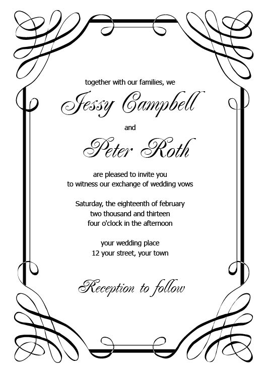 Wedding Invitation Printable Templates einmaleinshaus – Invitation Designs