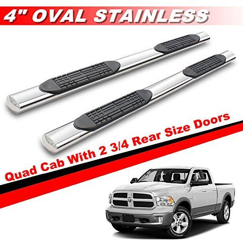 """Mifeier 4"""" Oval S/S Nerf Bars Side Step For 09-16 Dodge Ram 1500 Quad Cab With 2 3/4 Rear Size Doors Running Boards. For product info go to:  https://www.caraccessoriesonlinemarket.com/mifeier-4-oval-ss-nerf-bars-side-step-for-09-16-dodge-ram-1500-quad-cab-with-2-34-rear-size-doors-running-boards/"""