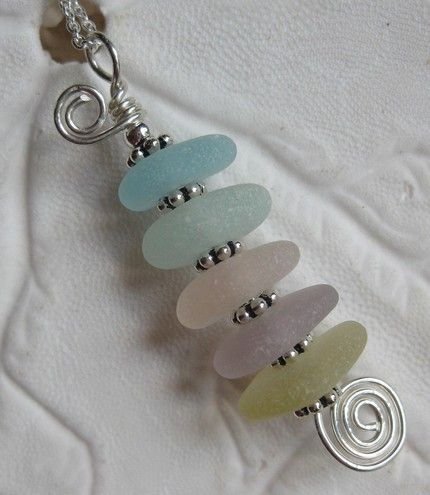 Sea glass pendant - might be more interesting in a pin design.