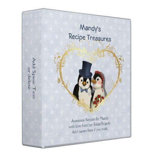 Penguin Wedding Recipe Treasures 3 Ring Binder