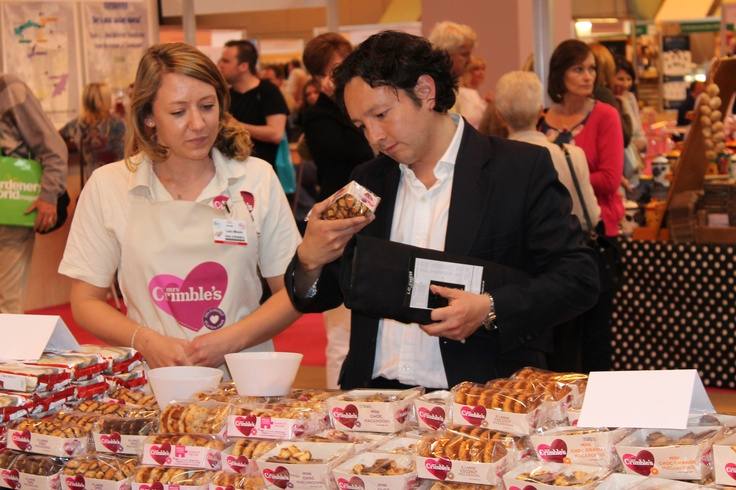 Andrew from Masterchef checking out our goodies at the BBC Good Food Show Summer #mrscrimbles #bbcgoodfoodshow #glutenfree