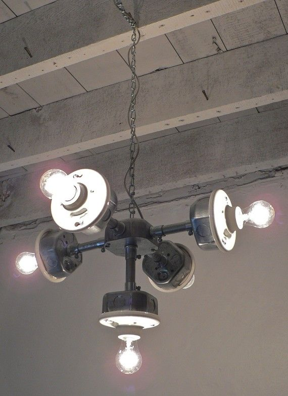 J A C K S - Handcrafted Galvanized Metal Hanging 5-Light Chandelier