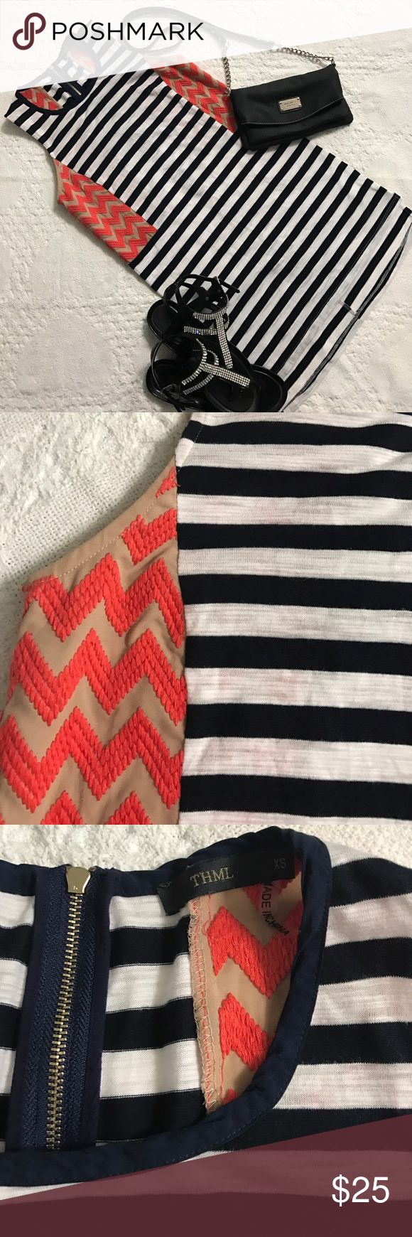 THML (Anthropologie) Dress Pattern block Athropologie dress. Blue and white stripes with orange chevron pattern on the sides. In very good condition. No Flaws zips in back. Can be worn as a long  Top with tights. Size: Xsmall. Anthropologie Dresses