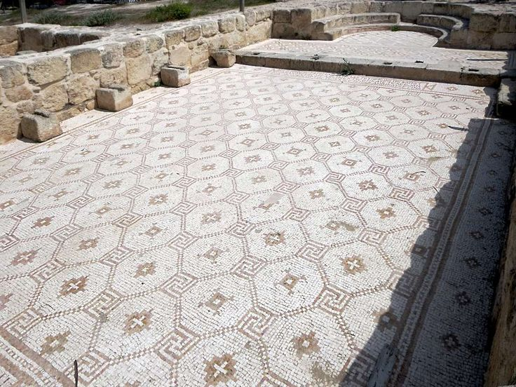 This Byzantine church just off the Propylaeum Plaza at Jerash, Jordan, still has a fine mosaic floor.