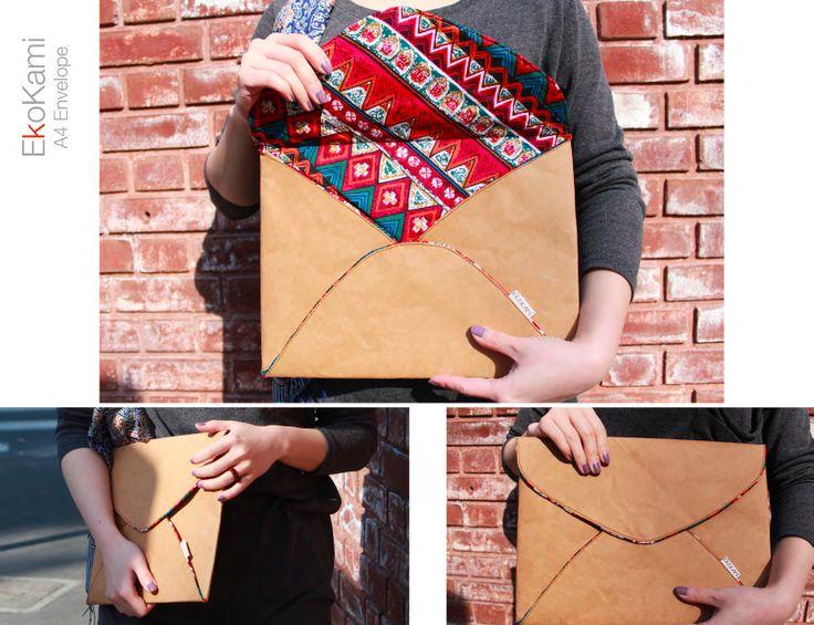 EkoKami paper + fabric envelope clutch