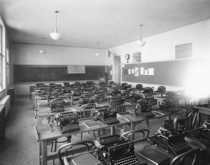 1920 S Hollywood High S Typing Classroom Vintage
