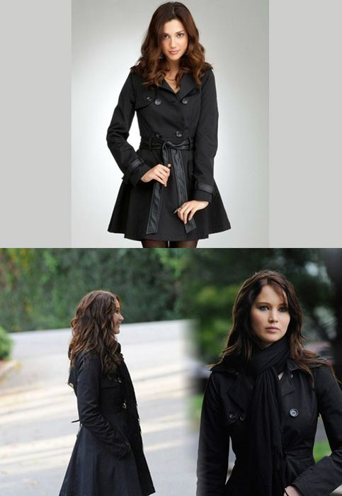Jennifer wore a Bebe Contrast Trim Trench Coat as Tiffany in the movie Silver Linings Playbook (credit). Bebe Contrast Trim Trench Coat