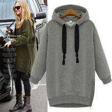 Inverno nuova felpa con cappuccio casual lungo abbigliamento sportivo per le donne 2015  Caldo zipper pullover con cappuccio solid plus size abbigliamento donna in  Vendita