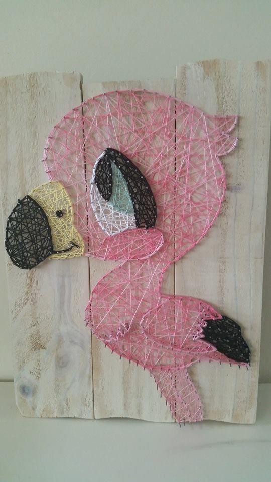 Big eyes Flamingo String art. Check us out on Facebook at All Strung Up. https://www.facebook.com/pages/All-Strung-Up/915873695199667?ref=hl