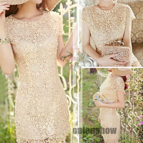 Women Scallop Hem Floral Crochet Lace Shell Pearls Beads Dress Bridesmaid Gown | eBay