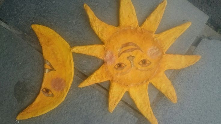 Først try of sun and moon of papermache