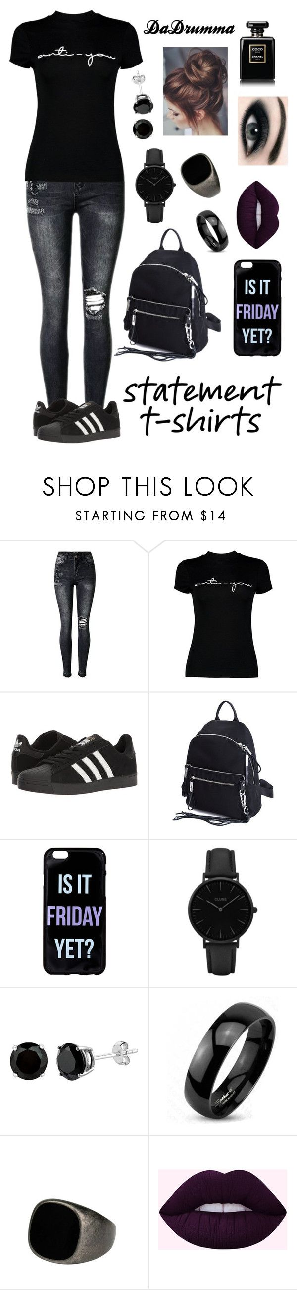 """""""Anti-You"""" by dadrumma ❤ liked on Polyvore featuring Boohoo, adidas, CLUSE, West Coast Jewelry, Max Factor, Chanel, antiyou and statementtshirts"""