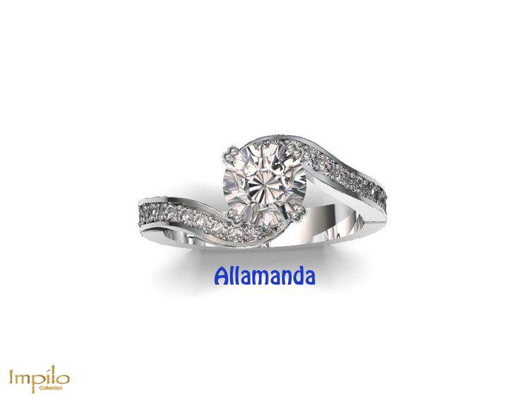 """Allamanda"" - This unique design has a round brilliant cut diamond set in a four claw twirl design with small diamonds on each side."