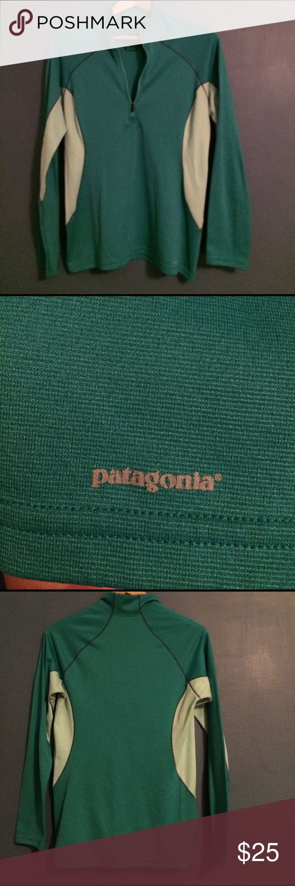 Patagonia women's long sleeve Patagonia women's long sleeve top. Pretty turquoise/green with light blue sides. 1/4 zip up. Perfect for a busy day of running around. Patagonia Tops Tees - Long Sleeve