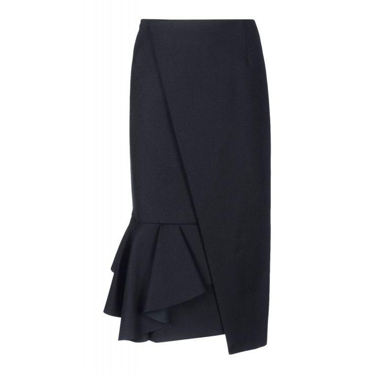 Viktor & Rolf Black Asymmetrical Skirt - Wool Peplum Skirt - ShopBAZAAR SALE!