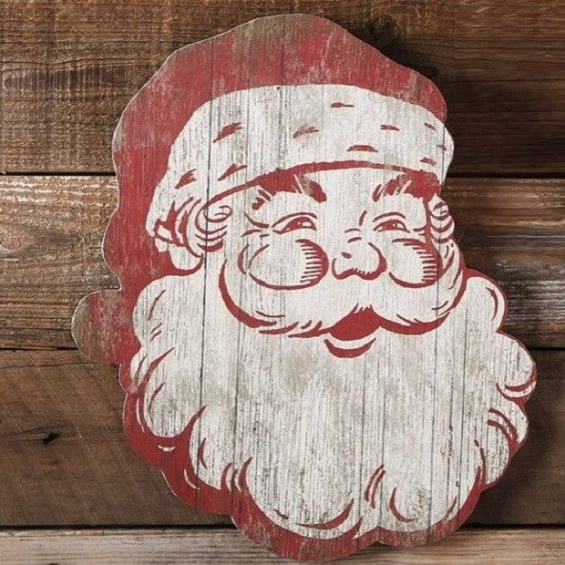 Rustic Wood Santa Claus Wall Decor