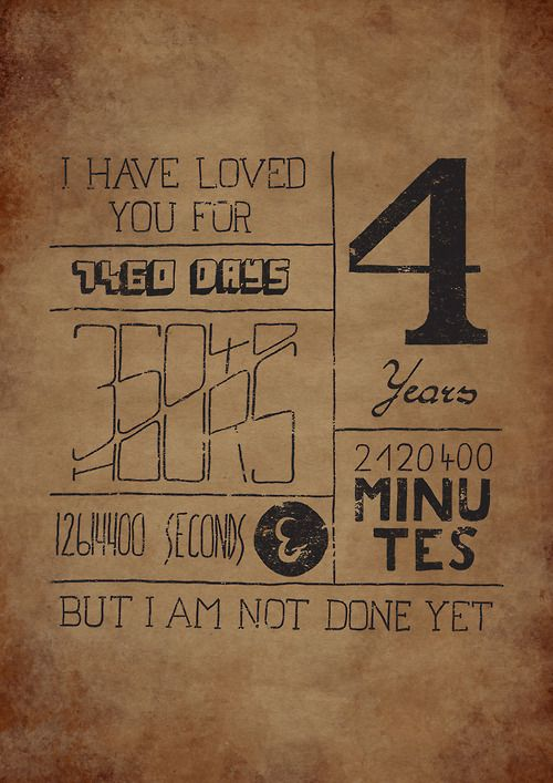 Hand drawn Typography for 4 years anniversary.|Click here to help someone Submitted bykrashek
