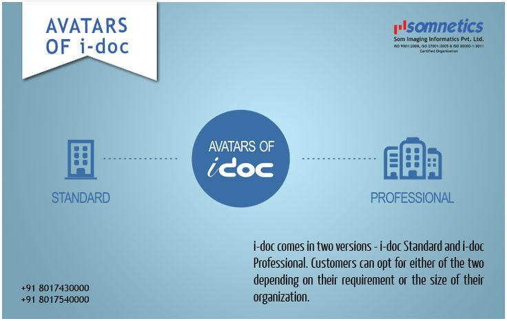 Introducing versions of i-doc . i-doc Standard & i-doc Professional. i-doc Standard being the lower version, is best fitted for smaller organization with smaller requirements. i-doc Professional is the bigger version fitted for organizations with large number of employees or bigger possible users.