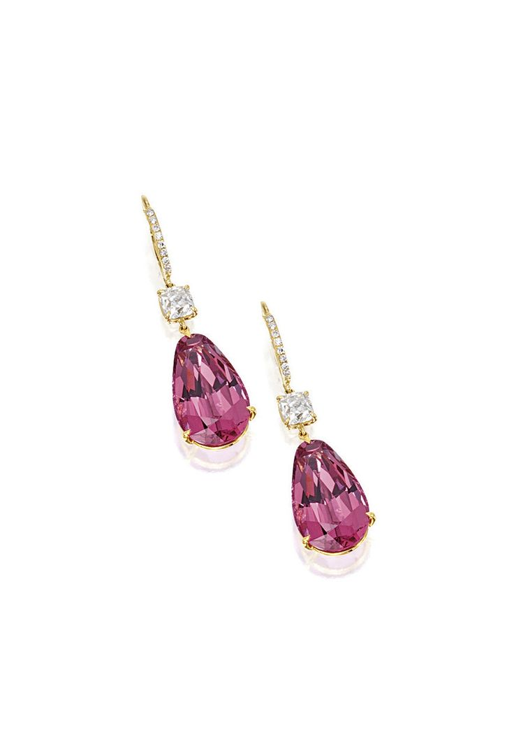 Pair Of Pink Spinel And Diamond Pendent Earrings Each Suspending On A  Pearshaped