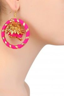 Fuschia Pink and Golden Jhumki Drop Hoop Earrings #gotta #ribbon #earrings #AprajitaToor #shopnow #happyshopping #perniaspopupshop