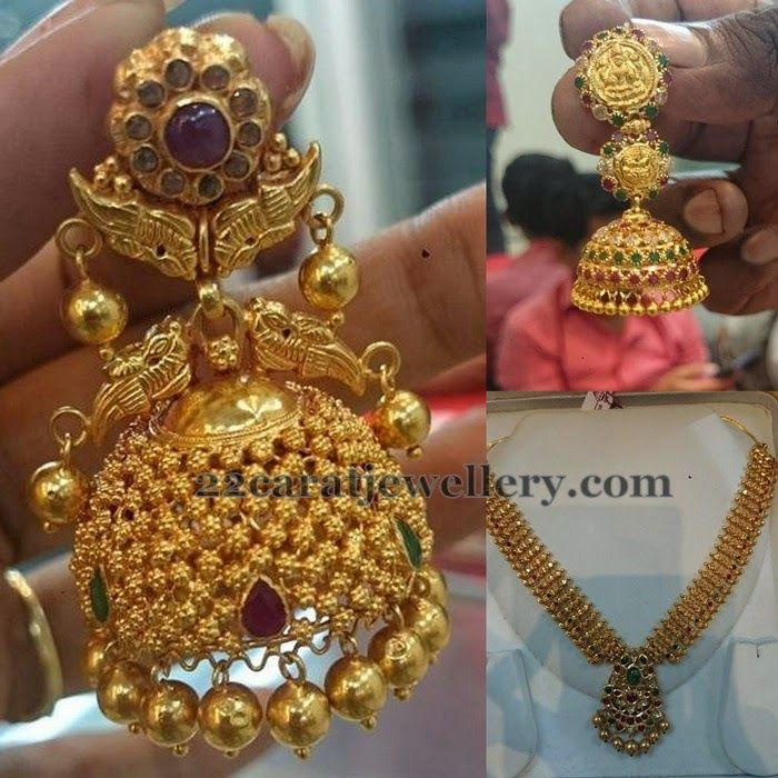 Kundan Necklace with 2 Step Jhumkas | Traditional Gold ...